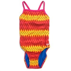 One Piece Pink Striped Speedo Swimsuit